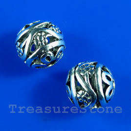 Bead, antiqued silver-finished, 10mm filigree round. Pkg of 4