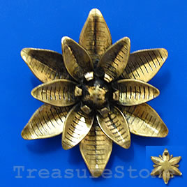 Pendant/charm, brass-finished, 49mm flower. Sold individually.