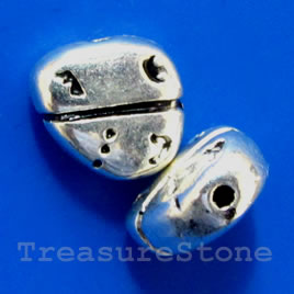 Bead, antiqued silver-finished, 9x4mm. Pkg of 10.