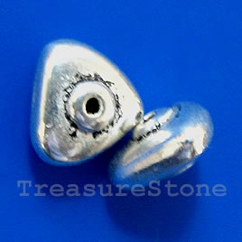 Bead, antiqued silver-finished, 10mm triangle. Pkg of 10.