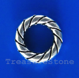Bead, antiqued silver-finished, 15x3mm circle. Pkg of 10.