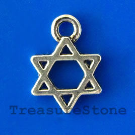 Charm/pendant, silver-plated, 10mm star. Pkg of 20.