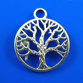 Pendant, silver-finished, 30mm Tree of Life. Pkg of 2.