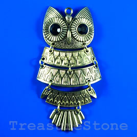 Pendant/charm, brass-finished, 41x92mm owl. Sold individually.