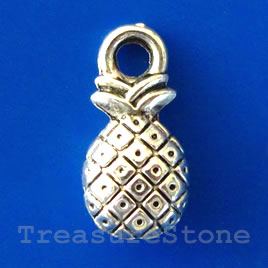 Charm/pendant, silver-plated,7x10mm pineapple. Pkg of 15.