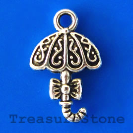 Charm/pendant, silver-plated, umbrella,11x15mm. pkg of 12.