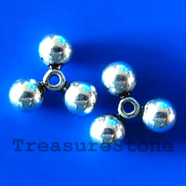 Bead, antiqued silver-finished, 16x6mm. Pkg of 6.