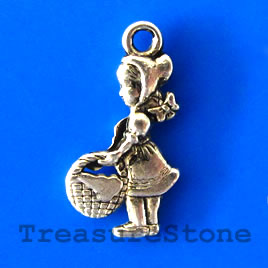 Charm/pendant, silver-plated, girl, 10x19mm. Pkg of 12.