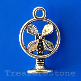 Charm/pendant, silver-plated,11x15mm fan. Pkg of 12.