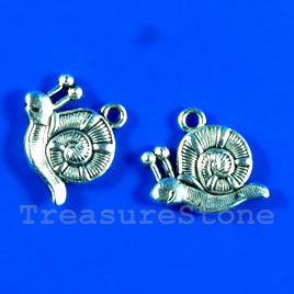 Pendant/charm, silver-finished,13x17mm snail. Pkg of 6.