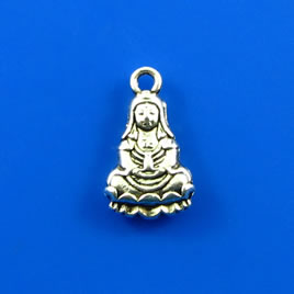 Charm,silver-finished, 9x14mm buddha. Pkg of 8.