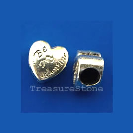 Bead, heart, Be My Valentine, 10x7mm. pkg of 8.