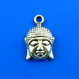 Charm,silver-finished, 8x14mm buddha head. Pkg of 8.