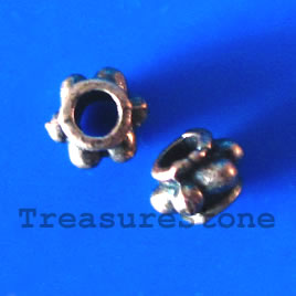 Bead, antiqued copper-finished, 6x4mm. Pkg of 20.