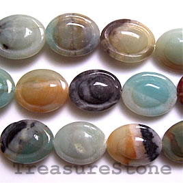 Bead, color amazonite, 17x21mm carved puffed oval. 16-inch.