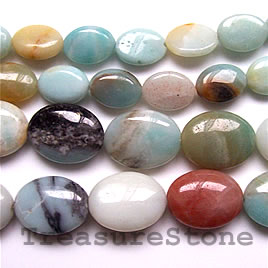 Bead, color amazonite, 10x14mm flat oval. 16-inch strand.