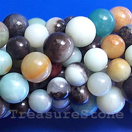 Bead, color amazonite, 6mm round. 16-inch strand.
