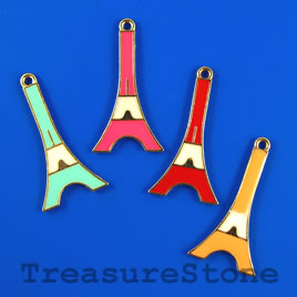 Pendant, mixed color, metal, 18x35mm eiffel tower. Pkg of 3.