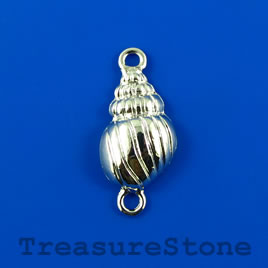 Link/charm,silver-finished,13x28mm,1-sided puffed shell.Pkg of 6