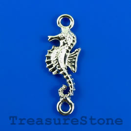 Link/charm, silver-finished, 9x25mm seahorse. Pkg of 6