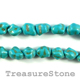 Bead, dyed turquoise, 9x11 nugget. 15.5-inch