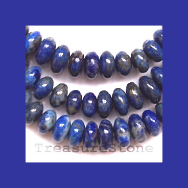 Bead, Lapis Lazuli, 6x4 to 12x6mm graduated rondelle. 16 inch