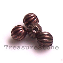Bead, antiqued copper-finished, 3.5mm round. Pkg of 30.
