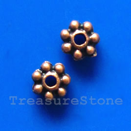 Bead, antiqued copper-finished, 4mm daisy. pkg of 30.