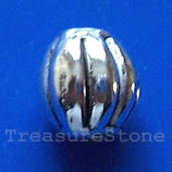 Bead, antiqued silver-finished, 10mm round. Pkg of 15.