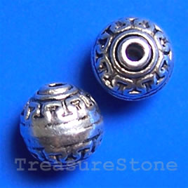 Bead, antiqued silver-finished, 10.5mm round. Pkg of 10.