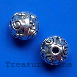 Bead, antiqued silver-finished, 10mm round. Pkg of 10.
