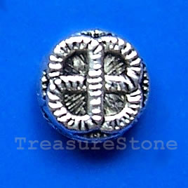 Bead, antiqued silver-finished, 9x4mm. Pkg of 15.