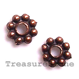 Bead, antiqued copper-finished, 5mm daisy. Pkg of 30.