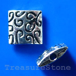 Bead, antiqued silver-finished, 9x3mm. Pkg of 10.