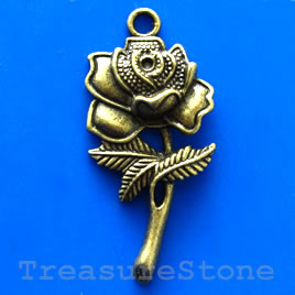 Pendant/charm, brass-finished, 22x42mm flower. Pkg of 2.