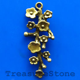 Pendant/charm, brass-finished, 17x40mm. Pkg of 3.