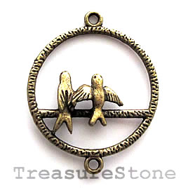 Pendant/charm, brass-finished, 28mm Birds in Love. Pkg of 4.