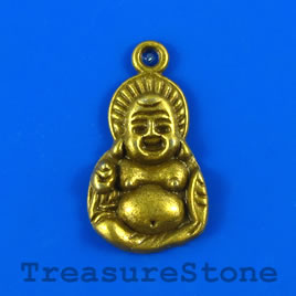 Charm/pendant, brass-plated, 15x23mm Buddha. Pkg of 4.