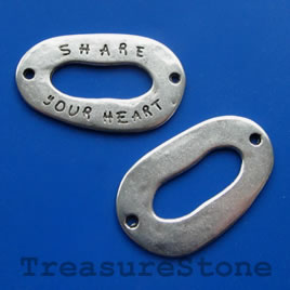 Bead, Share Your dream pewter, 22x35mm. Pkg of 3.
