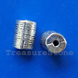 Bead, antiqued silver-finished, 10mm tube. Pkg of 12.