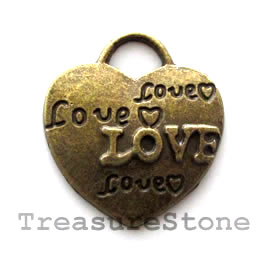 Pendant/charm, brass-finished, 21x23mm heart. Pkg of 5.