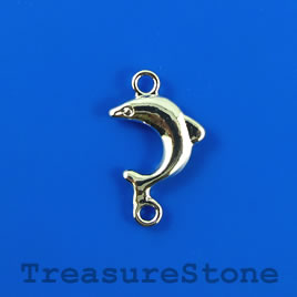 Link/charm, silver-finished, 14x23mm dolphin. Pkg of 6