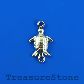 Link/charm, silver-finished, 12x21mm turtle. Pkg of 6