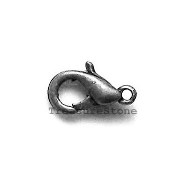 Clasp, lobster claw, black-finished, 15x9mm. Pkg of 5.