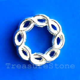 Bead, bright silver-finished, 16mm. Pkg of 15.