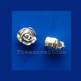 Bead, bright silver-finished flower, 6mm. Pkg of 25.