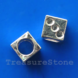Bead, bright silver-finished, 8mm cube. Pkg of 6.