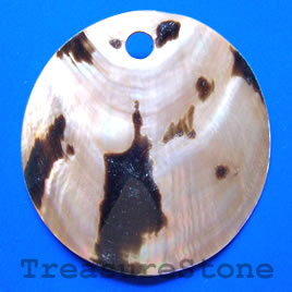 Pendant, shell, 60mm round. Sold individually.