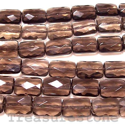 Bead, smoky quartz, 8x12mm faceted rectangle. 16-inch strand.