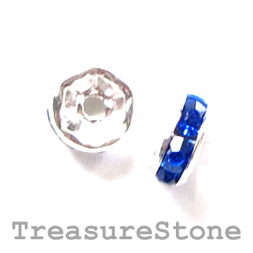 Spacer bead, silver plated brass, royal blue, 6mm round. 5pcs